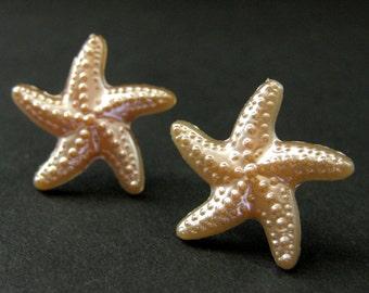 Peach Starfish Earrings. Sea Star Fish Earrings with Silver Stud Earring Backs. Handmade Jewelry.