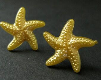 Starfish Earrings in Goldenrod Yellow. Star Earrings with Silver Stud Earring Backs. Handmade Jewelry.