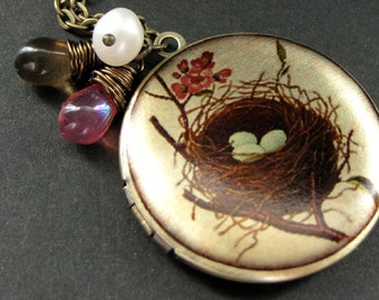 Birds Nest Locket. Nest Charm Necklace with Pink and Brown Teardrops and Fresh Water Pearl. Handmade Jewelry.