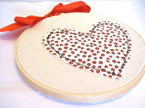 Valentine's Day, Red Apple Heart Wall Hanging,Home Decor, Cottage Chic, Hoop Art, Embroidery Hoop,