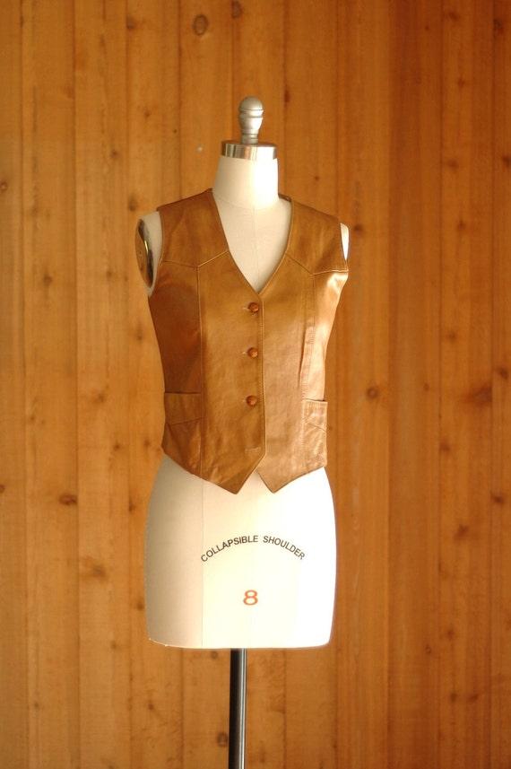 vintage leather vest / trego's westwear / size small medium