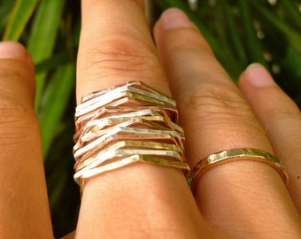 Hexagon Stackable Rings in Gold-filled, Rose Gold-filled, and Sterling Silver