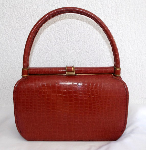 Vintage 1960s Purse, Caramel Mock Croc Handbag, French 60s Purse, Vegan Vintage Purse