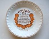 Vintage Royal China Pumpkin Pie Ceramic Pie Baker 1983