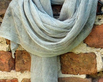 Linen Scarf Shawl Wrap Stole Grey Green Lichen, Light, Transparent