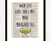 When Life Gives You Limes Make Margaritas, Bar Cart Art, Bar Cart Decor, Bar Wall Art, Home Bar Decor, Dictionary Art Print, Gift for Her