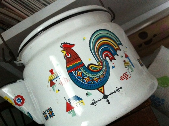 Berggren Enamelware Rooster Teapot