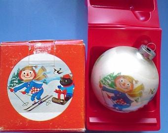 1973 Ornament  Raggedy Andy Corning Glass Ball  With Original Box