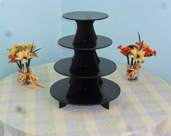 "Large 4 Tier Cake / Cupcake Stand 5"" PVC 9, 11, 13, 15 5"" BETWEEN TIERS"