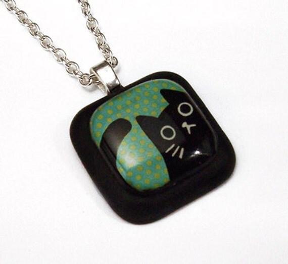 Peeping Black Cat on Green Blue Polka Dot Resin Pendant