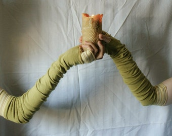 Extra Long  Arm Warmers Creased Olive Mustard Gloves Mittens Fingerless Upcycled Clothing Funky Wrapped Wrists Cuffs Eco Style
