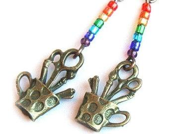 Artist Earrings, Back to School Earrings. Rainbow Paintbrushes Scissors Pencils. Gift for Teacher Painter Artist Student Librarian