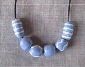 Porcelain 'Lilac Breeze' Ceramic Beaded Necklace