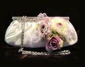 Wedding clutch, Bridal clutch, White, Pink, lavender, purple clutch, bridal evening bag, bridesmaid clutch