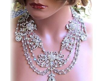 Wedding jewelry set, OOAK Bridal bib necklace and earrings, vintage inspired rhinestone bridal necklace statement, crystal jewelry set