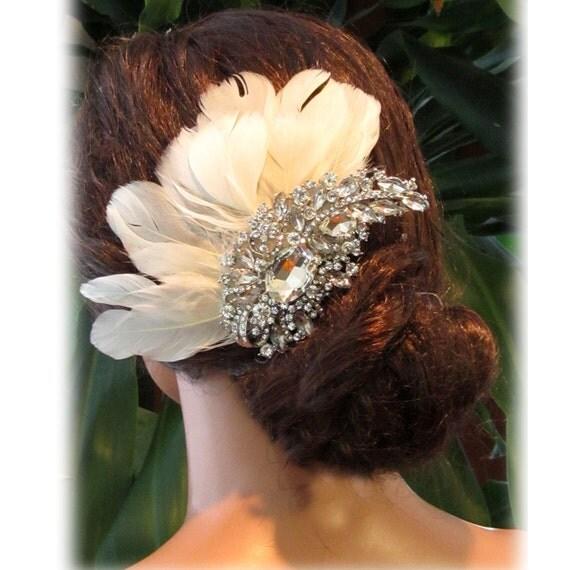 Wedding hair accessory, bridal headpiece, Ivory feathers, Vintage Bridal Rhinestone Hair Comb, Bridal swarovski comb, bridal fascinator