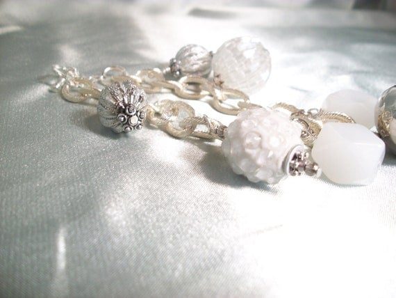 White Silver Bracelet, Frosted, Christmas, Baubles, Winter Fashion Trend