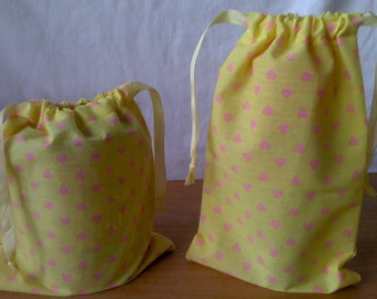 2 Small Gift Bags Pink Hearts on Yellow Upcycled Reusable 9 1/2 X 6 and 8 X 7 1/2