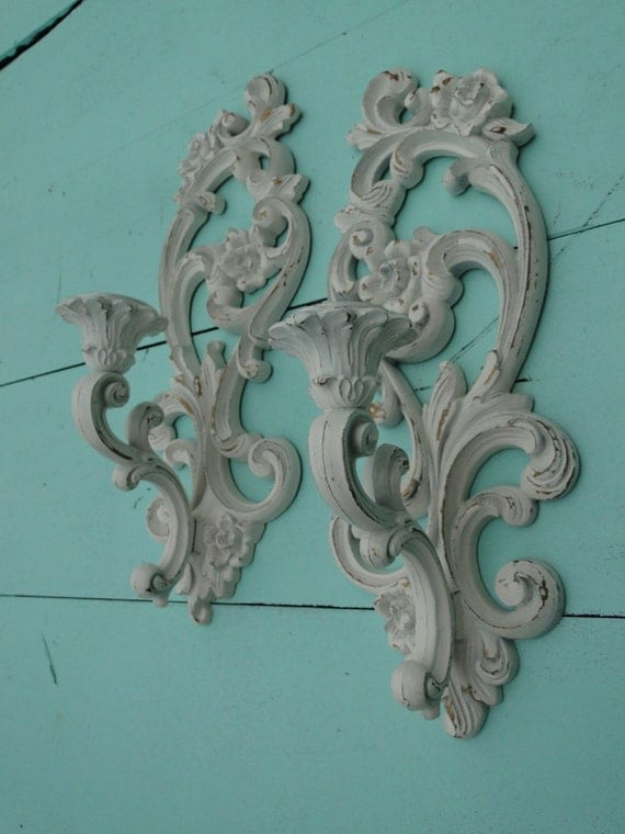 """Set of taper candle sconces ornate floral romantic shabby chic white gold """"Golden Vanilla Candle Sconces"""""""