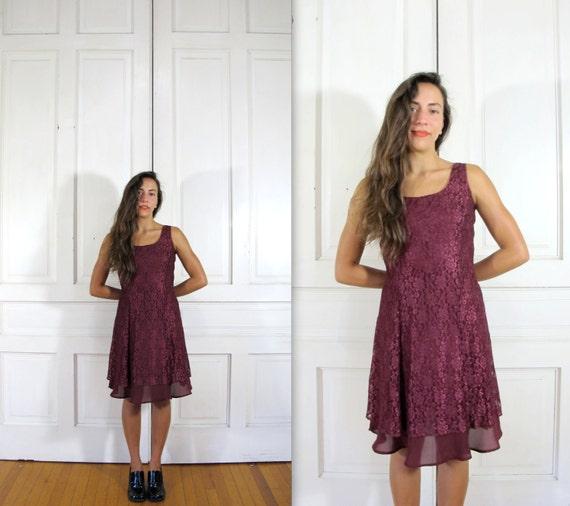 RESERVED for Linda Hurley - Vtg 90s Grunge Burgundy Lace Mini Dress / Floral Lace Party Dress