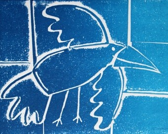 As the crow flies - Sky blue Signed Original Collagraph, hand pulled relief print