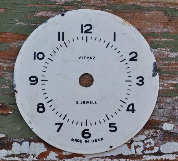 Vintage metal alarm clock face.dial.