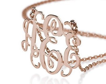 Rose Gold Monogram Necklace - 1.5 inch Personalized Monogram - Sterling silver 18k gold plated Name Necklace