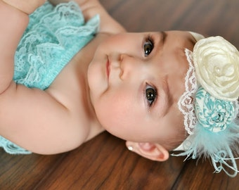 Fabric Rosette Headband - Triple Rosette in Teal with Ivory Satin Flower Headband - Photo Prop - Birthday