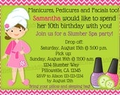 Slumber Party Spa Party Birthday Invitation Print Your Own 5x7 or 4x6