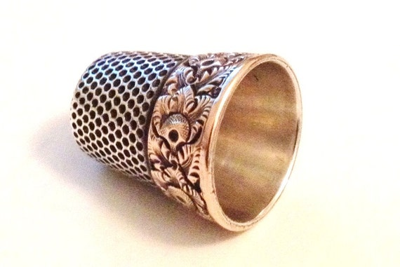 Antique sterling silver and gold tooled thimble, engravable for wonderful gift