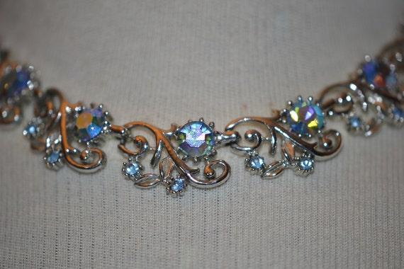 Signed Coro Necklace w/Aurora Borealis Rhinestones