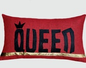 "Red soft Burlap Lumbar Pillow case with leather word ""QUEEN"" accent, fits12""x20"" insert, great gift."