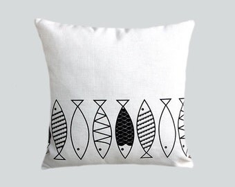 "Decorative Pillow Case, Thick White cotton Throw pillow case with Black Fish, Designer fabric, fits 16"" x 16"" insert, Cushion case."
