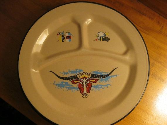 Six ten inch enamel ware plates in a western motif