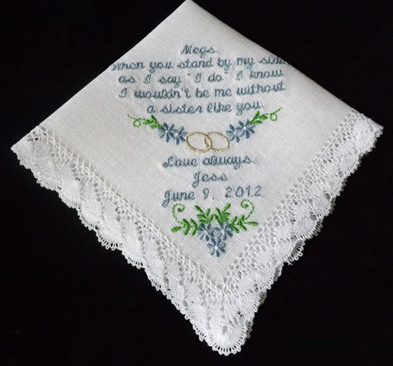 Wedding Handkerchiefs For The Family: Items Similar To Sister Or Maid Of Honor Personalized