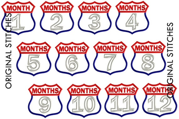 Route Patch Monthly Milestones Applique and Embroidery Digitized Design File 4x4 5x7 Months 1 -12