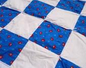 SALE Veggietales Blanket, Bob the Tomato Blanket, Daycare Blanket, Blue Baby Blanket, White Infant Blanket, Travel Blanket, Toddler Blanket