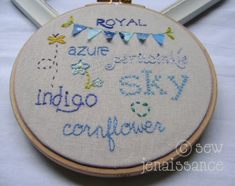 Embroidery Pattern PDF Blue Words Royal Azure Sky Cornflower Indigo Periwinkle