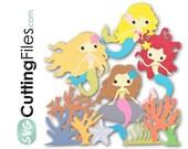SVG mermaids, ocean, coral, kelp, sand dollar, beach svg cut file for cricut and home cutting machins