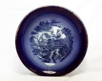 Antique Willow pattern bowl by Empire, England, royal blue and gold