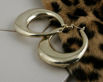 Vintage Brass Oval Hollow Hoop Earrings circa 1980s