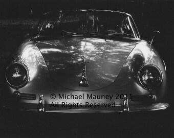 Porsche 1960 Silver 356B Original Black & White Photograph by Michael Mauney circa 1980