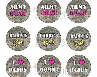 Army Princess, Brat digital ACU camo military bottle cap images - 1 inch image sheets for bottle caps