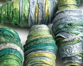 8 mixed media textile art fiber beads hand made with Tyvek - MIXED GREENS - emerald jade olive sea green silver grey and gold