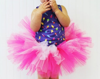 Pink and White Tutu Skirt for baby to toddler in super fluffy full design Costume Photo Prop or Play