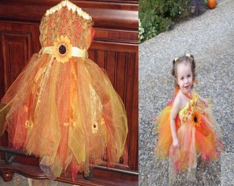Custom Fall Harvest Fairy or Scarecrow Tutu Dress Criss Cross Empire Waist Dress with Sunflower Accents Halloween Costume