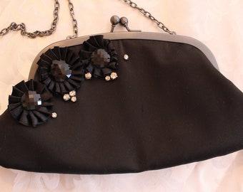Beautiful Black Silk Clutch Purse