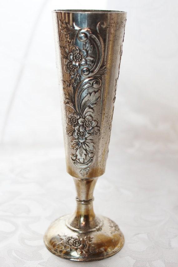 Vintage Silver Plate Shabby Vase