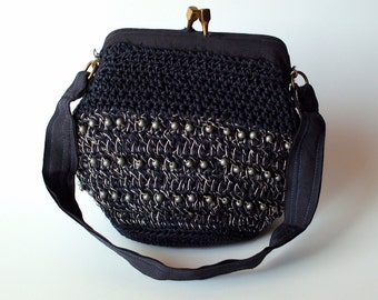 Navy Blue Beaded Garay Handbag