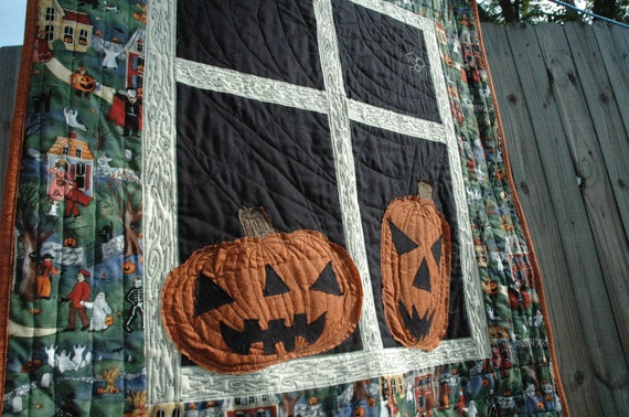 OOAK Heavily Quilted Halloween Quilt with Handmade Pumpkin Appliques